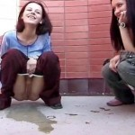 Cute Brunettes Pee Outdoor.