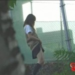 Japanese schoolgirls pissing standing up.