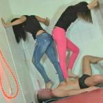 2 hot sisters punish slave. Planet-bizarre.