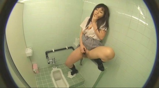 CAT-299 School Girls masturbate and pee in school toilet.