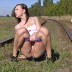 Morgan R – Peeing and    on a  Railway Track.