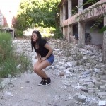 Eva's Outdoor desperation and thrilling pee in ruins.