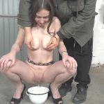 Captive Karina – pee drinking.