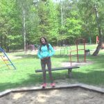 German babe pees all over kids playground.