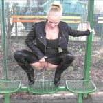 Lara-CumKitten –  Brash Public Piss at stops seat. MDH.