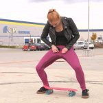 Chrissy Fox – Skateboard girl in wet jeans
