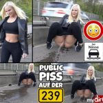 Lara-CumKitten  – PUBLIC PISS right on the main road.