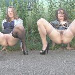Elegant   babes outdoor pee.