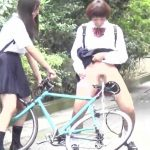 Jap school girls piss prank outdoors. SL-021.