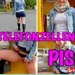 Lara-CumKitten – Brash public piss in the phone booth. MDH.