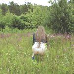 Grace Peeing in Wild Field.