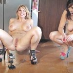 Carissa and Dixie – Pee Games Going For Distance.
