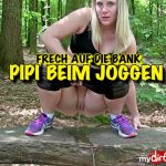 Lara-CumKitten – Pee while jogging – Naughty pissed on the bench. Mydirtyhobby.