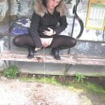 Lara-CumKitten – RISKY  public piss at the bus stop. Mydirtyhobby.