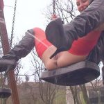 Blanka and Timea  – Help me to piss on the swing