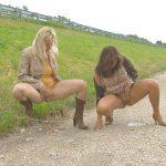 Angel, Carmen, Sam – 3 peeing girls next to autostrada.
