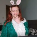 XO Bunny – Smoking and Pee Desperation Peeing on a Pile of Clothes on the Floor in Bedroom.
