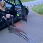 Whore Slut – Orgasma Celeste Pissing on the Street.
