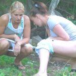 Russian natural feminine urination – voyeur in bushes 3.