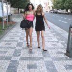 Isabel,  Tiffany – Drunk girlfriend piss public on street.